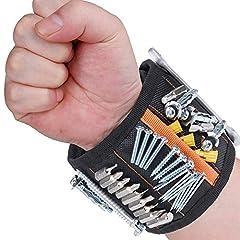 Idea Regalo - Rovtop Polsiera magnetica con 15 Magneti Robusti, Braccialetto Magnetico, salva le mani, fissa facilmente viti, chiodi, punte da trapano, ecc, Adatto per uomini e donne, attrezzi e regali fai da te