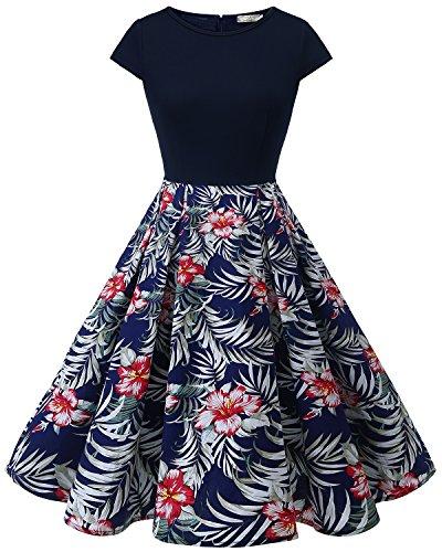 HomRain Damen 50s Retro Vintage Cocktail Rockabilly Swing Party Basic Kleid Navy-Navy Flower S