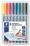 Staedtler 312WP8 - Lumocolor Folienstifte in Aufstellbox, wasserlöslich, 8 Stifte, Schriftstärke B