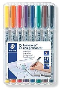 STAEDTLER 312WP8  - Lumocolor Plumas en Aufstellbox película, Soluble en Agua, 8 Pines, el Grosor, B
