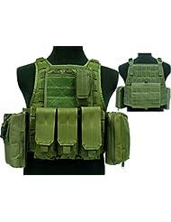 Tactical 027Molle combate chaleco, con bolsillo para cargador) para Airsoft y Paintball militar od