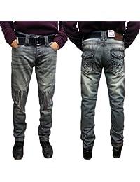 Peviani Super Club G Jeans, Gris Rock-Star Jeans Hommes, Designer Droit Rip