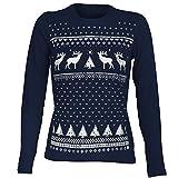 Damen Rentier Weihnachts-Langarmshirt Dunkle Blau. Eine tolle leichte und Bequeme Alternative zum Weihnachtspullover (M)