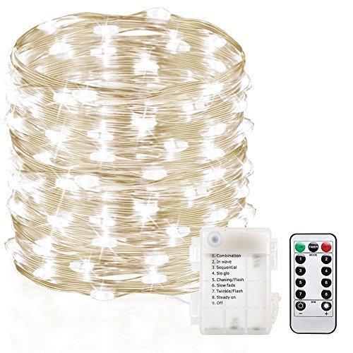 Preisvergleich Produktbild GDEALER 10M 100er LED Lichterkette 8 Modi Außenbeleuchtung Batteriebetrieben Kupferdraht Wasserdicht IP65 mit Fernbedienung für Outdoor,  Innenbeleuchtung,  Garten,  Hochzeit,  Party,  Weihnacht (Kaltweiß)