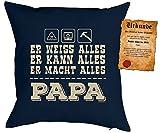 Geschenk für Papa zum Vatertag Kissen mit Füllung und Urkunde Er weiss ..Er kann ..Er macht alles Papa Kissen für Väter cooles Weihnachten Geburtstag