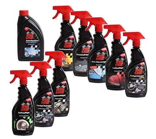 Autoreiniger Autopflege Komplett-Set Felgen, Lack, Kunststoff, Leder,Glas, Reifen,Insekten, Cockpit und Shampoo mit Wachs