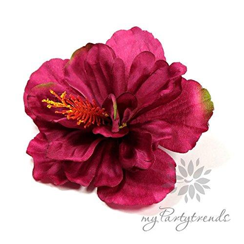 myPartytrends Hawaiiblume 'Hibiskus' in Purpur-grün; Ø 11 cm; Höhe 6 cm. (Hawaiiblüte, Hibiskusblüte, Hibiskusblume, Hawaii) -