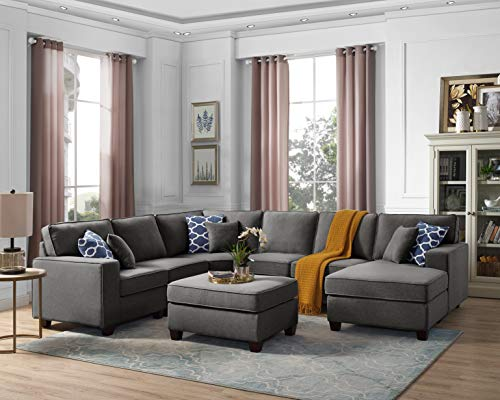 Oadeer Home D6014-1-Dunkelgrau, 7-teilig - Modulare Sectionals
