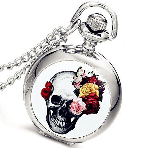 Montre de Poche LANCARDO Montre Gousset Motif de Têtes de Mort Rose Cadran Numérique Montre Femme Bracelet Montre Gousset Argent
