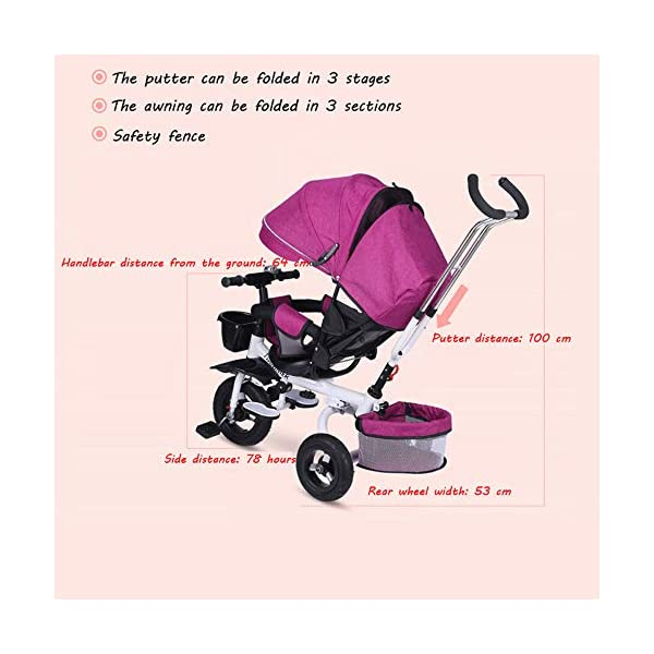 BGHKFF 4 In 1 Childrens Tricycles 8 Months To 6 Years 5-Point Safety Belt 360° Swivelling Saddle Kids' Trikes Adjustable Push Handle Childrens Folding Tricycle Maximum Weight 30 Kg,Gray BGHKFF ★ 4 in 1 multi-function: can be converted into a stroller and a tricycle. Remove the backrest and awning and use the putter as a tricycle. The best choice for 8 months to 6 years. ★ Tricycle foldable, space saving, easy to carry, is the best travel companion; adjustable push rod, push rod is directly connected to the tricycle handlebar through the steering link, parents can use the push rod to control the direction. ★ Rear wheel double brakes, 2 foldable footrests, non-slip handles and pedals, bells, 2 baskets, safe and comfortable driving experience. 5-point seat belt 6