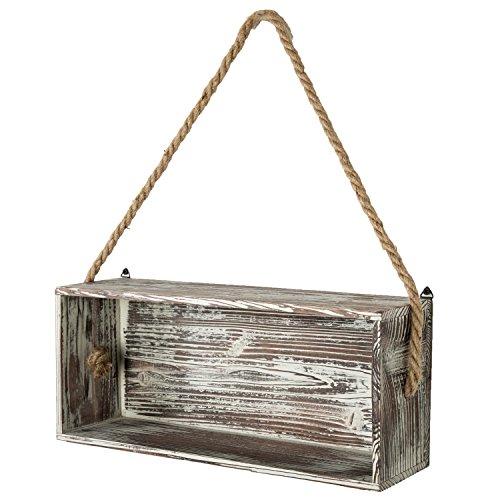 Rustikal Taschenlampe Holz schwimmende Regal Box mit dicken Seil zum Aufhängen, Shadow dekorativer Geschenkverpackung (Box Holz-shadow Rustikale)
