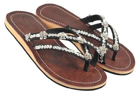 Amboss Damen Sandale mit Echt-Leder + ergonomisch geformten Fußbett SW10-08 Gr.39