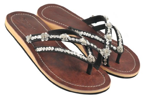 Amboss Damen Sandale mit Echt-Leder + ergonomisch geformten Fußbett Gr.40