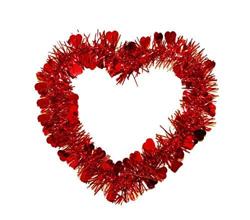 HAAC Herz Herzkranz Lametten mit Herzen Farbe rot 22 cm x 22 cm