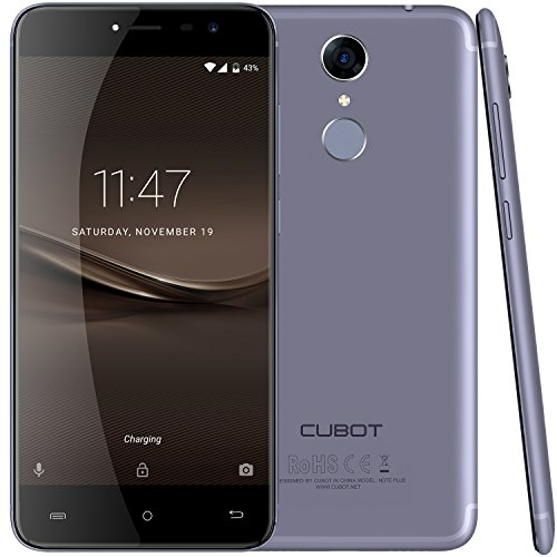 Cubot Note Plus (2017) Android 7.0 4G-LTE Dual Sim Smartphone ohne Vertrag, 5.2 Zoll IPS HD Touch-Display, 3GB Ram+32GB interner Speicher, Sony 16MP Hauptkamera / Samsung 16MP Frontkamera, Fingerprint Sensor Funktion, 2.5D gebogener Bildschirm, nutzbares GPS, Benachrichtigungs-LED, Lavendel-Blau