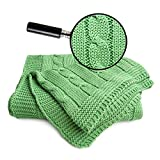 Sonnenstrick, Copertina di maglia per bambini, 100% cotone bio, motivo intrecciato, Verde (grün), 90 x 90 cm