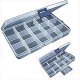 HCFKJ 15 Slots Einstellbare Kunststoff Fischköder Haken Tackle Box Aufbewahrungskoffer Veranstalter