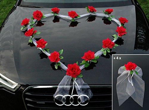 ORGANZA HERZ Auto Schmuck Braut Paar Rose Deko Dekoration Autoschmuck Hochzeit Car Auto Wedding Deko Girlande PKW (Rot / Weiß)