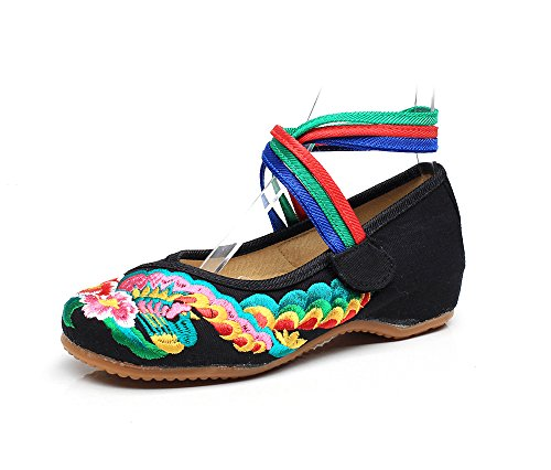 DESY Scarpe ricamate, suola a tendina, stile etnico, scarpe da donna, moda, comodo, casual allinterno dellaumento Black
