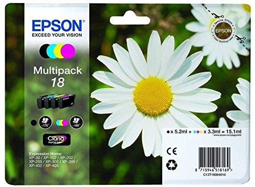 epson xp 412 druckerpatronen Epson C13T18064022 Multi-Pack (Schwarz, Gelb, Magenta, Cyan) Original Tintenpatronen Pack of 1