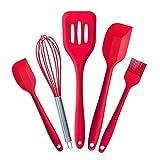 Jechery utensili per cucina spatola in silicone resistente al calore, senza BPA, da utensili da cucina, set da 5pezzi