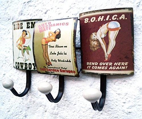 Garderobe Retro Wand Hakenleiste Garderobenhaken 35cm gross Kleiderhaken PIN UP - 2