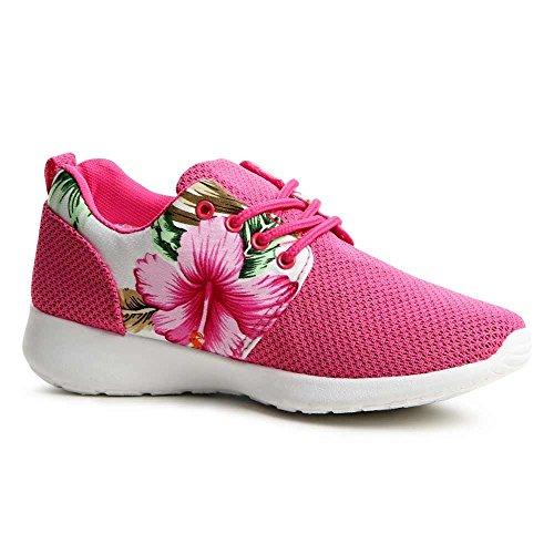 topschuhe24713–Baskets Chaussures de sport femme–Fleur Rose - Rose