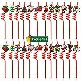 Qpout 24pcs Natale Bere cannucce di Natale, con Cartoni Animati Decorazioni Rosso Natale Festa di Natale Bere cannucce di plastica per la Festa di Natale Capodanno Festa di Capodanno