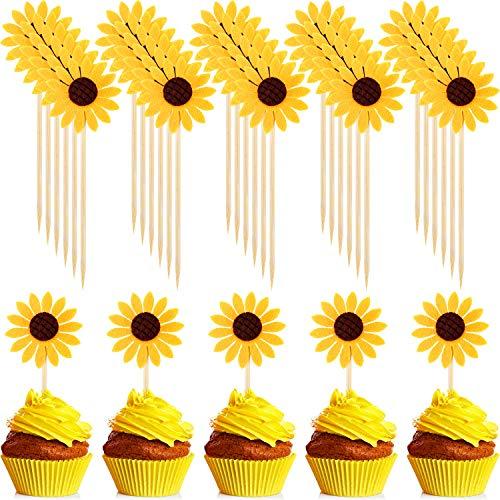 60 pezzi topper per torte girasole topper per dolci topper del fiore party per rifornimenti della decorazione della torta