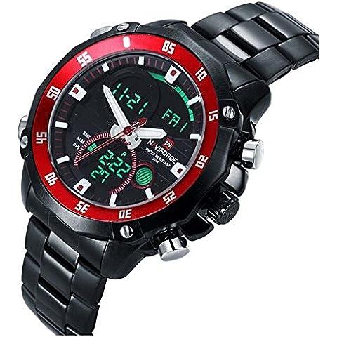 downj 2015Atmos orologio da uomo Sport orologio digitale a LED militare interamente in acciaio al quarzo orologi