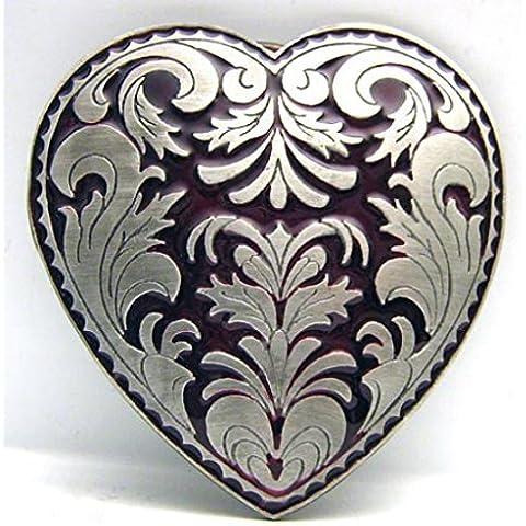 Fibbia a forma di cuore con decorazioni foglia