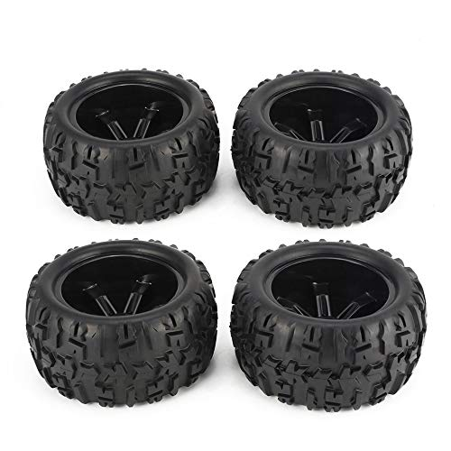 fengwen66 4Pcs 150mm Cerchione e Pneumatici per 1/8 Monster Truck Racing RC Accessori Auto (Nero)