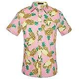 Fenverk Herren Casual Button Down Hawaii Tropisches Hemd Sommer Kurzarmhemd Blumenprint Hawaiihemd =Freizeithemd Urlaub Hawaii-Print Strandhemd Kurzarm Freizeit Reise Party(Pink 2,XXL)