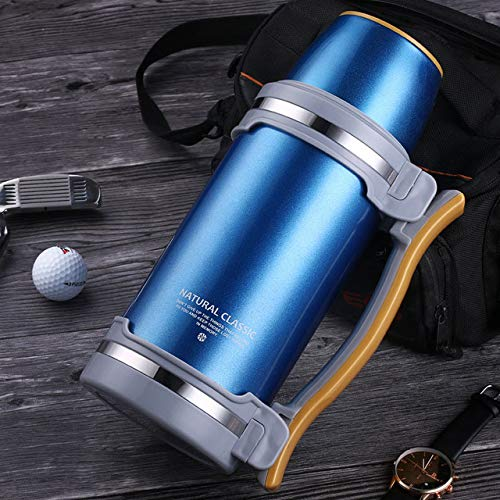 DDUUOO Große Kapazität Isolierflaschen 2L / 2,8L Edelstahl Thermoskanne Reise Wasserkocher Kaffeekocher Isolierte Wasserkocher Outdoor Tumbler Hikin 2L Blau