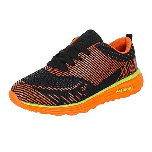 QFP Sneakers Freizeitschuhe Schwarz Ital Schnürsenkel Sportschuhe 003 Orange Geschlossen Damenschuhe Design nOf7Oqz