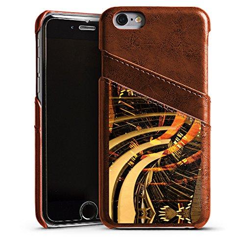 Apple iPhone 6 Housse Étui Silicone Coque Protection Berlin lumières Collage Photographie Étui en cuir marron