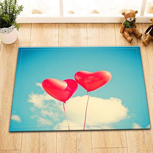 EdCott Romantischer Valentinstag Rote Liebe Luftballons Blauer Himmel Baiyun Innen smatte Schlafzimmer Küchentürmatte Außentürmatte Badezimmer Duschraum rutschfeste 40x60 Quadratische Haushaltsmatte -