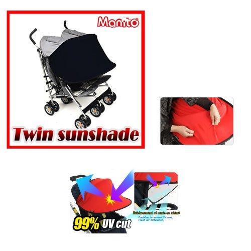 [Manito] New Twin Sunshade / Sonnenschutz für Twin Kinderwagen, Sonnendach, Sonnenverdeck, Sportkinderwagen und Autositz, Weitsonnenschutz, UV-Cut, Universal und einfache Installation (Black)