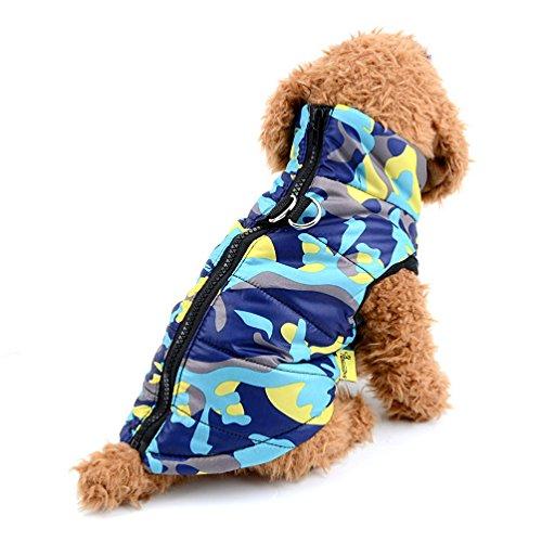 Imagen de selmai camo pequeño perro gato chaqueta de invierno chaleco acolchado pet puppy disfraz de camuflaje con arnés doggie chihuahua ropa de invierno ropa azul l