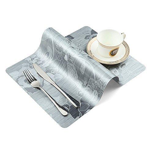 Onesky-uk Sets de table (lot de 4), antidérapant, imperméable, facile à nettoyer, isolation thermique, plastique Table Sets de Silver