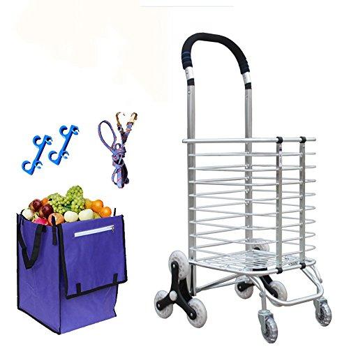 DELLT- Escalada carrito de la compra plegable para comprar un coche coche caravana de aluminio supermercado portátil pequeño remolque carrito de la cesta de ancianos ( Estilo : Reinforced rod bearing wheel )