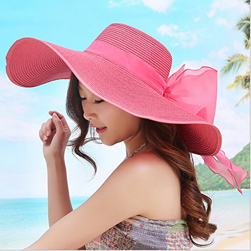 Surker Femmes Anti-UV / soleil pliables respirante Grand Brim Sun Hat Rose rouge