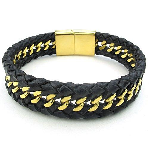 KONOV Jewellery Herren Edelstahl Leder Armband, Kette geflochten Armreif, Magnetverschluss, Schwarz Gold (mit Geschenk Tüte)