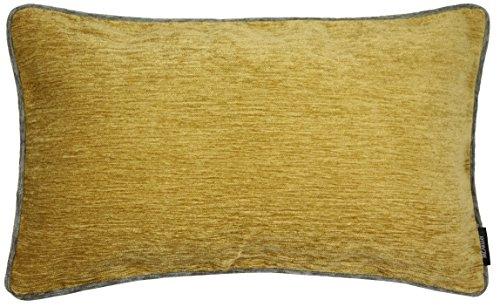 McAlister Textiles Alston Chenille | Sofakissen mit Füllung in Ockergelb mit Grau| 50 x 30cm Größe | flauschig weich edel paspeliert | Deko Designer gefülltes Kissen für Sofa, Couch -