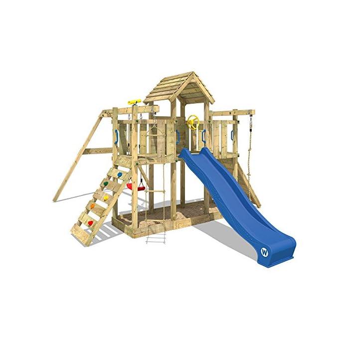 WICKEY Spielturm Smart Twister - Klettergerüst mit Schaukel, massivem Holzdach, Kletterwand und -leiter, Strickleiter…