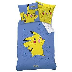 pokemon housse de couette parure de lit 140 x 200 cm pikachu cuisine maison. Black Bedroom Furniture Sets. Home Design Ideas