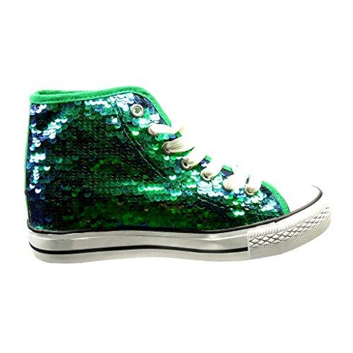 Angkorly Damen Schuhe Sneaker - Glitzer - Glänzende Flache Ferse 2.5 cm Grüne