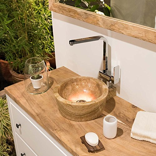 Honig Onyx Stein (Wohnfreuden Unikat Marmor Onyx Waschbecken ca. 30 cm x 12 cm ✓ natur rund innen poliert ✓ einzeln geprüft und fotografiert ✓ MINIJAYA glatt honig)