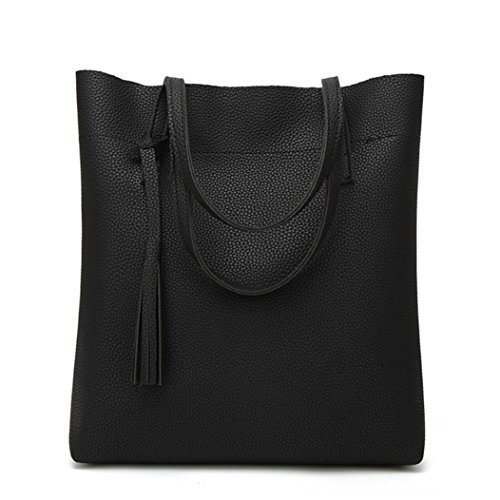 BZLine® Frauen Umhängetasche Quaste Eimer Tasche Mode Handtaschen Schwarz