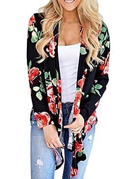Irregolare Cardigan Camicia Retro Donna Hiroo Stampa floreale O-Collo Maglietta Moda femminile Top in tunica Top...